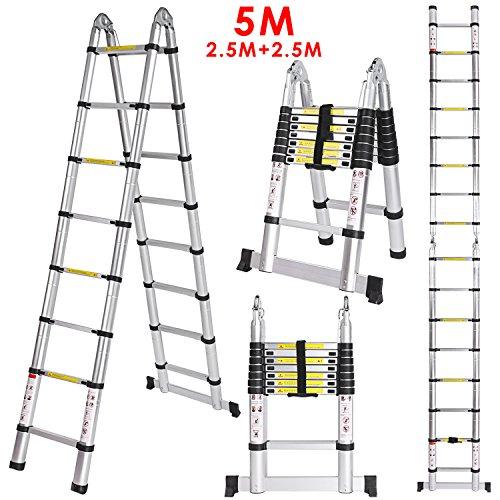 Lichire 5m Teleskopleiter,Alu Klappleiter, aus hochwertiges Aluminium,Multifunktionsleiter, Rutschfester Klappleiter,max Belastbarkeit 150 kg