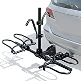 Leader Accessories 2-Bike Platform Style Hitch Mount Bike Rack, Tray Style Bicycle Carrier Racks Foldable Rack for Cars, Trucks, SUV and Minivans with 2' Hitch Receiver