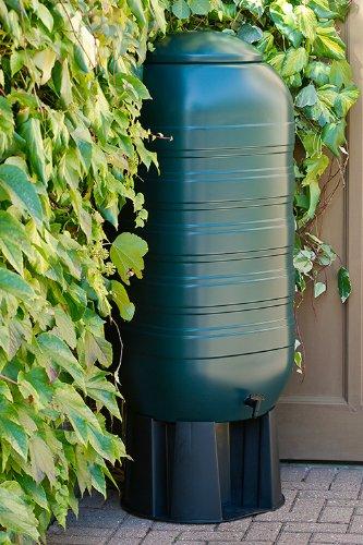Kreher XXL Regentonne aus Kunststoff mit 250 Liter Volumen inklusive Stand, Füllautomat und Hahn! In schlankem Format und dezenter Optik in
