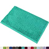 MAYSHINE Non-Slip Bathroom Rug Shag Shower Mat Machine-Washable Bath Mats with Water Absorbent Soft Microfibers, 20 x 32 Inches, Turquoise
