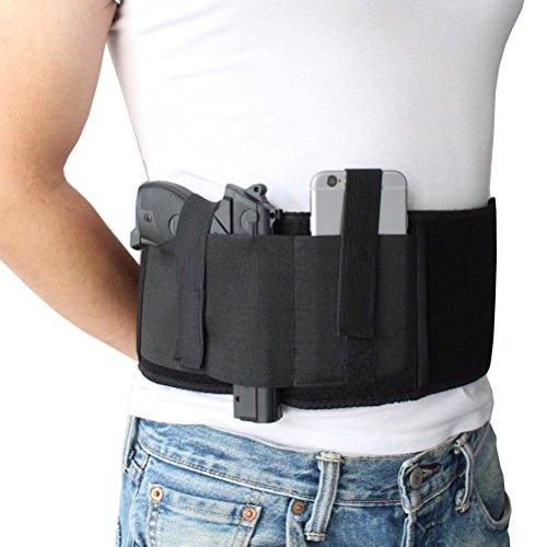 Custodia per pistola elastica a braccio per il trasporto a mano oa destra con tasca per riviste e 2 cinghie elastiche per Gun Smith, Glock P238, Ruger LCP e pistole simili | Per gli uomini e le donne
