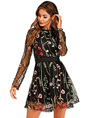 Material: Polyester, fabric has no stretch. Feature: Round Neck, Long Sleeve, Short Mini Dress, Cocktail Dress, Embroidery, Contrast Mesh, Black dress, Floral Dress, Party Dress, Overlay Dress Suggest to hand wash cold and hang to dry, no bleach. Car...