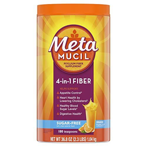 Metamucil Sugar-Free Fiber Supplement, 180 Servings, 4-in-1 Psyllium Husk Powder, Orange Flavored Drink, 36.8 Ounce