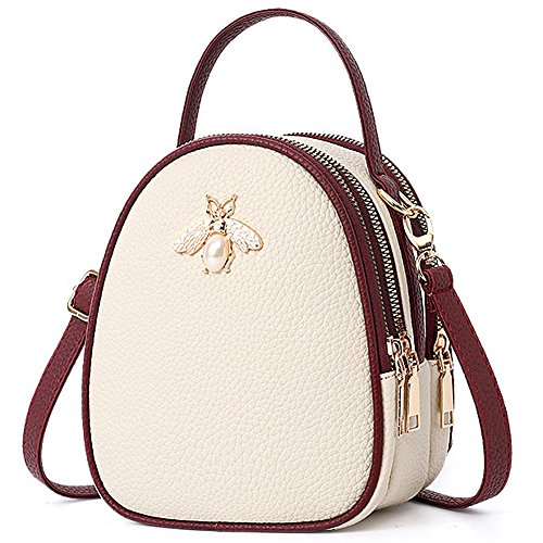 """51cH1wYssTL UTILITY: Shoulder Bags Purse, Cross body bags,Messenger Bags,Handbags CLOSURE AND MATERIAL:Top Zipper Closure.Material Updated To Good Quality Faux Leather. DIMENSIONS and INTERNAL: 6.3""""L x 3.15""""W x 7.5""""H. Strap lenth: 46 IN. Multi Zipper Pocket Crossbody Bag, Total 3 zipper pockets."""