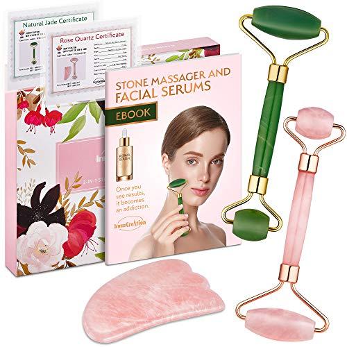 Authentic Jade Roller, Natural Rose Quartz Roller...