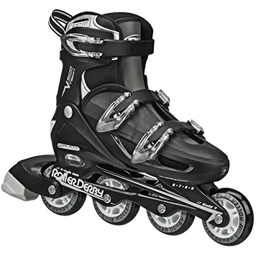 Roller Derby Boy's V-Tech 500 Button Adjustable Inline Skate, Black/White, Size 6-9