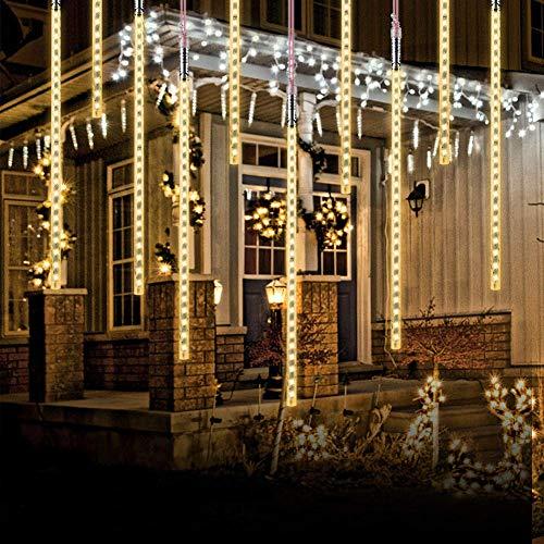 Luci Della Pioggia di Meteore, EEIEER 50cm 10 Tubi 540 LEDs Luci Pioggia Meteore IP65 Luci Stringa meteora doccia per Natale Halloween Albero del Giardino Festa di Nozze (Bianco Caldo)