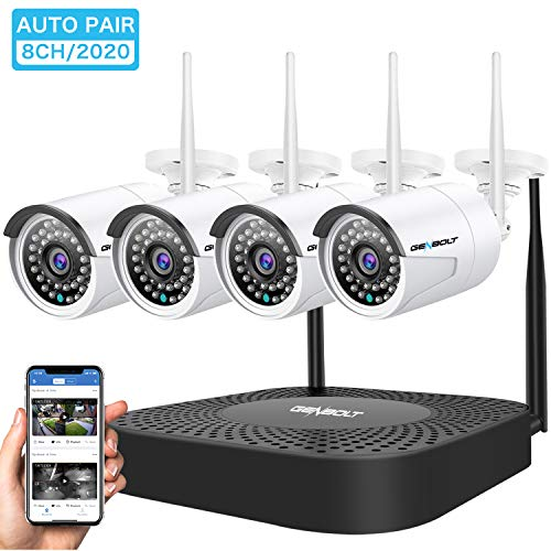 Wireless Security Camera System, GENBOLT Outdoor 1080P Home WiFi Security Surveillance Camera System, 8 Channels Full HD 1080P Video Record NVR with 4pcs 1080P Onvif IP Network Cameras,No HDD