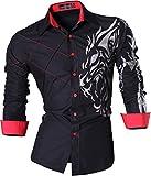 jeansian Men's Slim Fit Long Sleeves Casual Shirts Z030 Black XXL