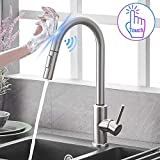 Qomolangma Touch Sensor Kitchen Faucets with Pull Down Sprayer, Touch On Single Handle Kitchen Sink Faucet with Pull Out Sprayer, Stainless Steel, Fingerprint Resistant,Brush Nickel