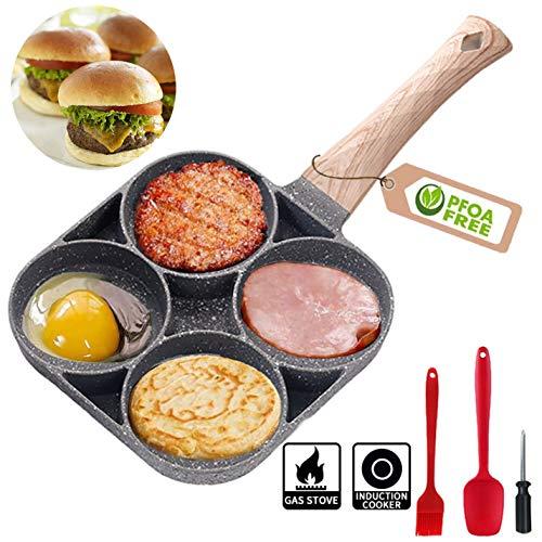 MIHUNTER Padella con Quattro Cerchi,Multi Uova Padella, 4 Foro Burger Uova Pancake Padella Pentola Antiaderente Colazione Omelette Stampo Maker con Antiscivolo Lungo Maniglie