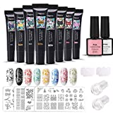 Timbre Ongles Gel, MYSWEETY 8 Couleurs Nail Art Stamping Gel Trousse...
