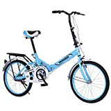 JOSHUA 20Inch Folding Bicycle Women Bike Ultra Light Variable Speed Portable Women's City Mountain Cycling, Adult Female Folding Bicycle Riding for Adults Men and Women