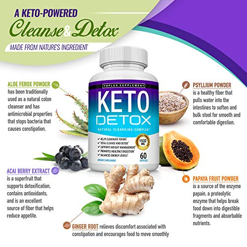 Keto Detox Pills Advanced Cleansing Extract – 1532 Mg Natural Acai Colon Cleanser Formula Using Ketosis & Ketogenic Diet, Flush Toxins & Excess Waste, for Men Women, 60 Capsules, Toplux Supplement 3