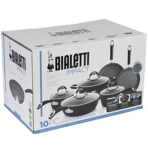 Product Image 11: Bialetti Textured Nonstick 10-Piece Oven-Safe Cookware Set, Gray Impact