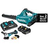Makita XBU02PTX1 18V X2 (36V) LXT Lithium-Ion Cordless (5.0Ah) and Brushless Blower Kit and Angle Grinder