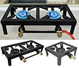 Maxi Portable Camp Stove Single Burner Cast Iron Propane Gas LPG Outdoor BBQ Cooker (Double (4824.510.5 cm))
