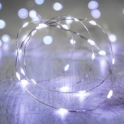 Lights4fun - Catena di Luci con 20 Micro LED Bianco Freddo a Pile su Cavo Metallico Argento