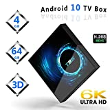 Android 10.0 TV Box, [2020 Updated Edition] Smart Android TV Box Media Player Quad-Core 4GB RAM 64GB ROM Support 2.4G WiFi/H.265/ USB 2.0/ 100M LAN/ 3D 6K Ultra HD