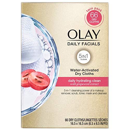Olay Wipes, Daily Hydrating Facial Dry Cloths, 66...