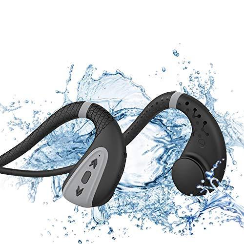 Bone Conduction Swimming Headphones Swim MP3 Players Bluetooth 5.0 wireless Headphones IPX8 waterproof Wireless Sport Headset with 8G memory(Black Gray)
