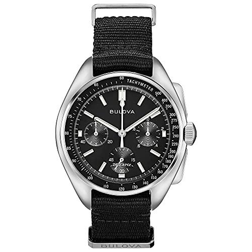 Bulova Lunar Pilot Special Edition mit schwarzem NATO-Armband ~ Chronograph Analog Uhr – Edelstahl Gehäuse 45 mm