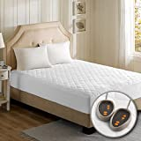 Beautyrest Cotton Blend Heated Mattress Pad Secure Comfort Technology-Luxury Quilted Electric Deep Pocket-5-Setting Controllers, King, White