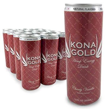 Kona Gold Cherry Vanilla Hemp Energy Drink 12.0 Fluid Ounces, 12 Pack, Zero Calories, Zero Sugar, Natural Flavors, Organic Hemp