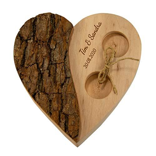 Geschenke 24 Holz Herz für Ringe Rinde Hochzeit personalisiert für Eheringe mit Gravur -...