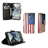 Sharp Aquos Crystal Case, CoverON Stylish Design Deluxe PU Leather Folio Flip Book Wallet (CarryAll Series) Pouch Case Cover For Sharp Aquos Crystal 306SH + Screen Protector - USA American Flag Design