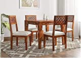 Chetan Interiors Solid Sheesham Rosewood 4 Seater CNC Dining Table with 4 Chairs Set for Living Room, Home, Hall, Hotel, Dinner Restaurant