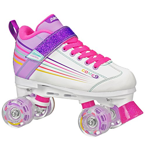 Pacer Comet Quad Kids Roller Skate, with Light Up Wheels, P973, White sz 4