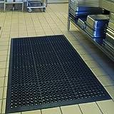 Rubber Floor Mats for Kitchen Anti-Fatigue Mat Restaurant Bar Floor Mat New Door Mat Bath Mat Commercial Heavy Duty Drainage Mat for Garage Garden Use Black 36' x 60' from SallyMall