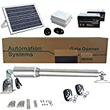 ECO LLC Solar Powered Heavy-Duty(300KG) Single Swing Automatic Gate Opener Kit Suitable for Opening Gates Up to 2.5M Wide and 50M Remote Control DC24V