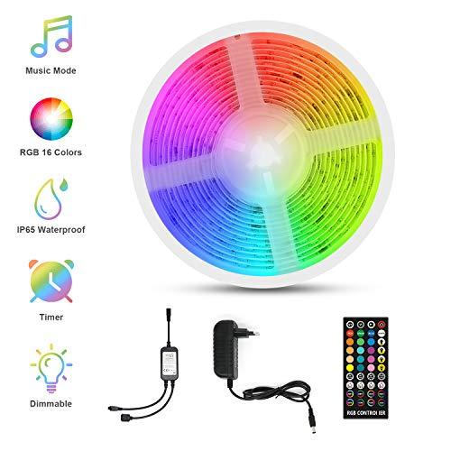 Striscia LED Musicale, Fansteck 5M Strisce Led TV 5050 RGB Impermeabile IP65 Luce Multicolor Autoadesivo 150LED Telecomando con Decorazione per interni ed esterni a Natale, feste, ecc.
