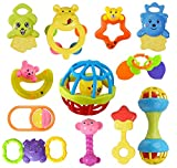 WISHKEY Colorful Non Toxic BPA Free 10 Rattles and 3 Teethers Toys Set for Babies