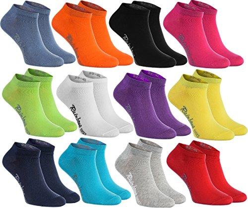 Rainbow Socks - Donna Uomo Colorate Calzini Corti di Cotone - 12 Paia - Nero Bianco Grigio Porpora Blu Marina Jeans Blu Arancione Rosso Giallo Verde Fucsia Merda - Taglia 39-41