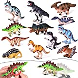 FUN LITTLE TOYS 12 Pieces Assorted Wind Up Dinosaur Toys for Kids Party Favors, Mini Toy Dinosaur Figures for Kids Prizes, Birthday Party Supplies Toddler Toys, Goodie Bag Fillers (Toy)