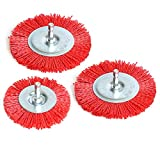 3Pcs Abrasive Wire Wheel Brushes Assorted Nylon Brush Set 3Inch/4' for Drill with 1/4' Shank