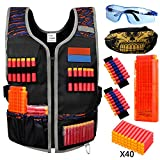 Hely Cancy XL Adjustable Tactical Vest Kit for Nerf Guns N-Strike Elite Series with Protective Glasses, Mask, Reload Clips, 40 Bullets for Kids Over 10 Years Old, Teens, Mens