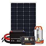 Pumplus All-in-One 120W Solar Well Pump System, 12V Deep Well Submersible Pump + 120W Solar Panel + 50Ah Battery + 16ft Cable + Charge Controller for Remote Watering, Garden,Irrigation, Tank Filling
