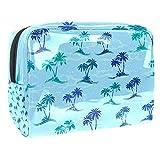 Bolsa de maquillaje portátil con cremallera bolsa de aseo de viaje para mujeres práctico almacenamiento cosmético bolsa palmeras árboles
