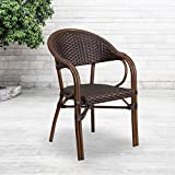 Flash Furniture Milano Series Dark Brown Rattan Restaurant Patio Chair with Red Bamboo-Aluminum Frame