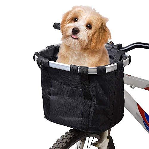 MOGOI Fahrradkorb für Hunde, Faltbare abnehmbare Haustier Katzen Hundefahrrad Tragetasche, wasserdichter vorderer Fahrradkorb für Haustier Reise/Picknick/Einkaufen (Schwarz)