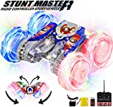Haktoys RC Stunt Master Extreme 360° Tumbling & Spinning Action Acrobatic Rechargeable Car (Blue or Red) | Radio Control with LED Lights, Safe & Durable, Great Gift for Kids, Model HAK104