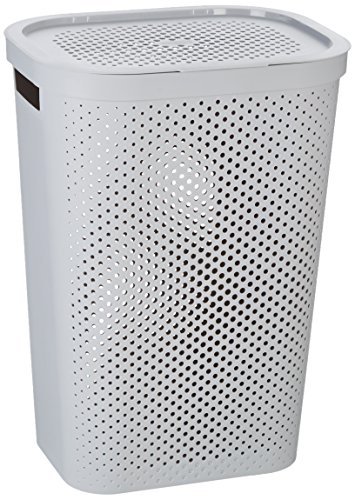 CURVER Wäschebox Infinity mit Punktmuster 59l in hellgrau, Plastik, Grau, 35 x 25 x 10 cm