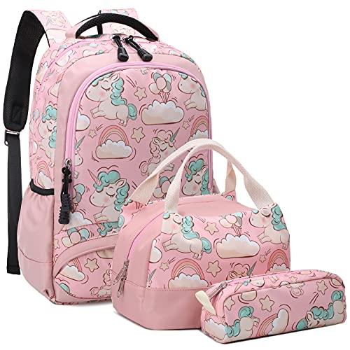 Mochila Unicornio Niños Impermeable Mochila Escolar para Adolescente Pequeñas Mochilas Infantil Bolso para Chicas para La Escuela,Viajes,Intemperie Juego de 3 Rosa