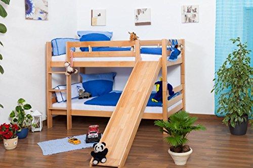 Kinderbett Etagenbett Jonas Buche Vollholz natur massiv mit Rutsche inkl. Rollrost - 90 x 200 cm, teilbar, Aktionsversion