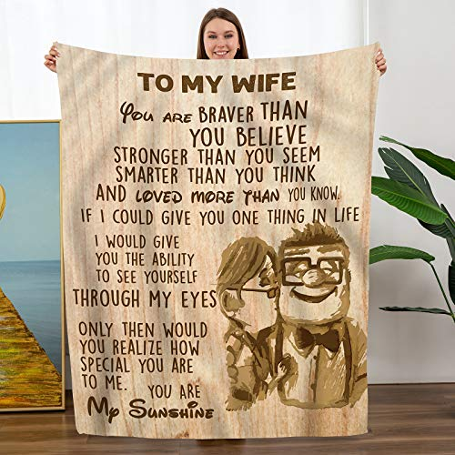 to My Wife Throw Blanket from Husband Christmas Birthday...