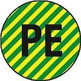 2374. Leiterkennzeichnung auf Bogen PE, Schutzleiter Folienetiketten, selbstklebend,auf Bogen angestanzt Größe 2,50 cm